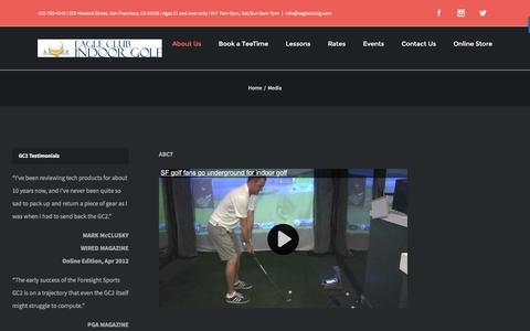 Screenshot of Press Page eagleclubig.com - Golf Driving Range San Francisco, Golf Instruction, Indoor Golf Course - captured Oct. 19, 2016