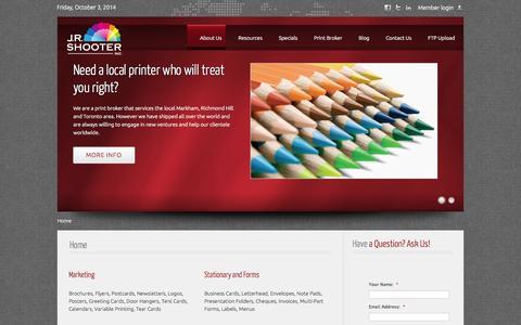 Screenshot of Home Page jrshooter.com - JR Shooter.com - captured Oct. 3, 2014