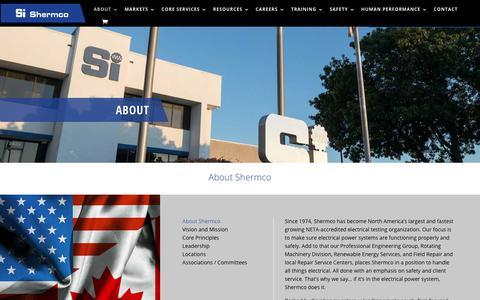 Screenshot of About Page shermco.com - About Shermco - Shermco industries - captured Nov. 9, 2019
