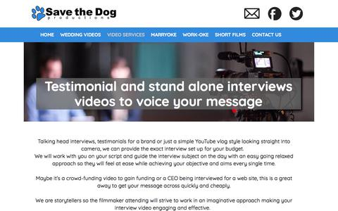 Screenshot of Testimonials Page savethedogproductions.com - Interview filming | testimonial video | London | Save the Dog Productions - captured July 27, 2018