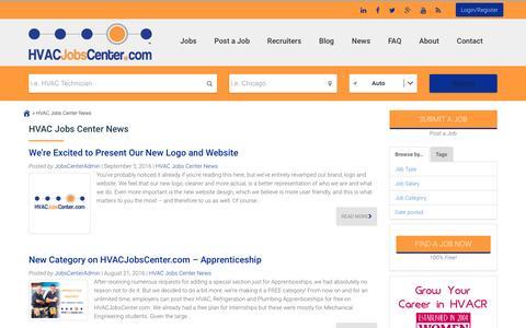 Screenshot of Press Page hvacjobscenter.com - HVAC Jobs Center News Archives - HVAC Jobs Center - captured May 13, 2017