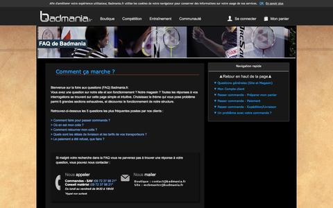 Screenshot of FAQ Page badmania.fr - Besoin d'aide (FAQ) - Badmania.fr - captured Feb. 21, 2016