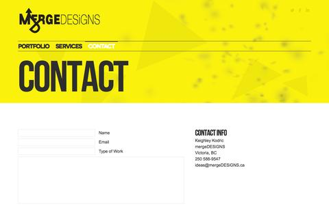 Screenshot of Contact Page mergedesigns.ca - WordPress, Web Design, Graphic Design, Victoria, BC > Contact - captured Oct. 27, 2014