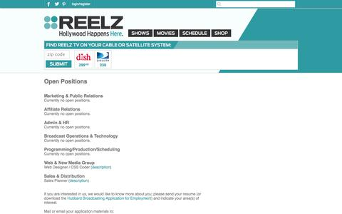 Screenshot of Jobs Page reelz.com - Careers at ReelzChannel - captured Sept. 25, 2014