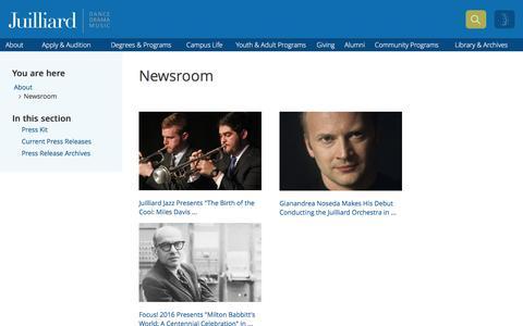 Screenshot of Press Page juilliard.edu - Newsroom   The Juilliard School - captured Jan. 23, 2016