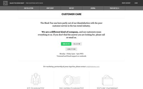 Screenshot of Contact Page Support Page theblacktux.com - Tuxedo and Suit rentals. Higher Quality, Lower Price.   The Black Tux - captured Oct. 22, 2014