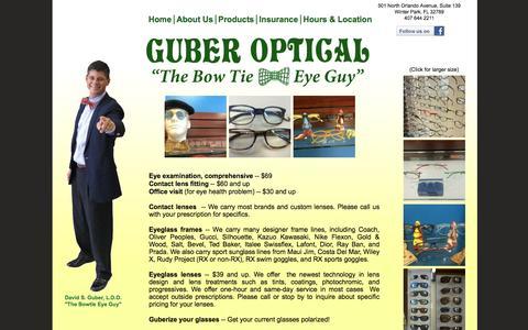 Screenshot of Products Page guberoptical.com - Guber Optical & Eyeglass Boutique - Products - captured Jan. 3, 2017