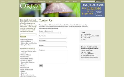 Screenshot of Contact Page orionmagazine.org - Contact Orion - captured Oct. 26, 2014