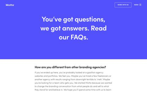 Screenshot of FAQ Page wearemotto.com - FAQs | Motto | Branding Agency | Top Branding Agency | NYC | Dallas - captured Oct. 28, 2018