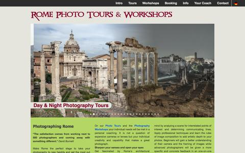 Screenshot of Home Page rome-phototours.com - ROME PHOTO TOURS & WORKSHOPS - Photographing Rome - captured Oct. 7, 2014
