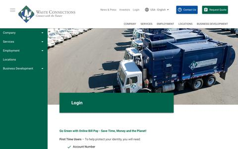 Screenshot of Login Page wasteconnections.com - Online Bill Pay | Waste Connections - captured Feb. 3, 2018