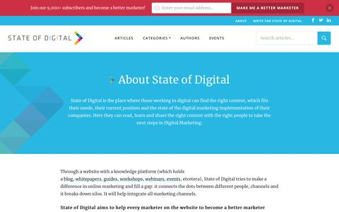 Screenshot of About Page stateofdigital.com - What is State of Digital About? - captured Nov. 13, 2019
