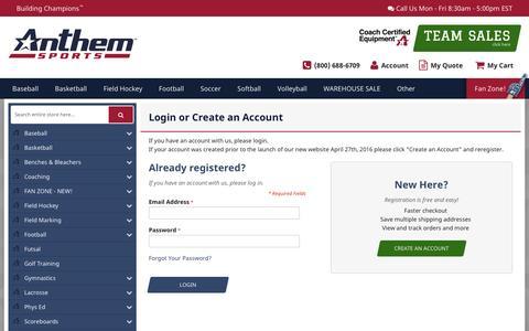Screenshot of Login Page anthem-sports.com - Customer Login - captured Nov. 21, 2016