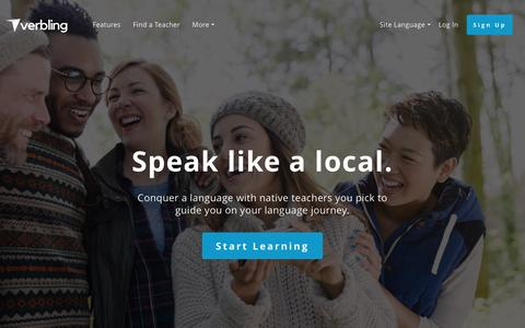 Screenshot of Home Page verbling.com - Verbling - The Modern Way to Learn a Language. - captured May 9, 2017