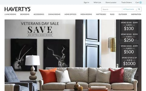 Screenshot of Home Page havertys.com - Welcome to Havertys - captured Oct. 17, 2015