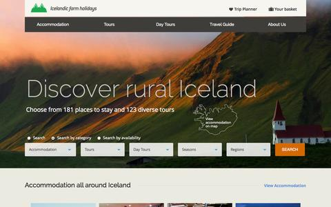 Screenshot of Home Page farmholidays.is - Icelandic Farm Holidays | Local experts in Iceland vacations - captured Sept. 23, 2014
