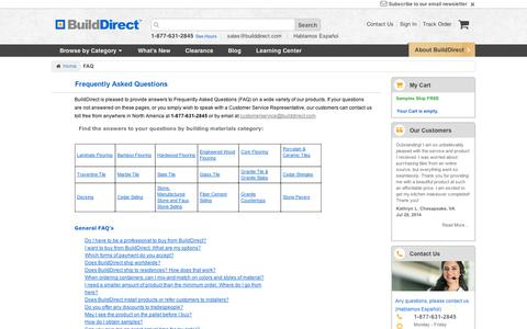 Screenshot of FAQ Page builddirect.com - BuildDirect Flooring, Roofing and Decking FAQ - captured Sept. 11, 2014