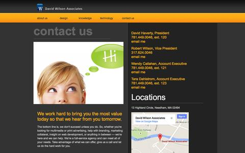 Screenshot of Contact Page Locations Page dwaonline.com - David Wilson Associates | Contact Us - captured Oct. 23, 2014