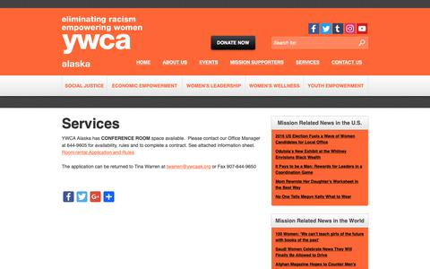 Screenshot of Services Page ywcaak.org - Services - YWCA Alaska - captured Dec. 13, 2018