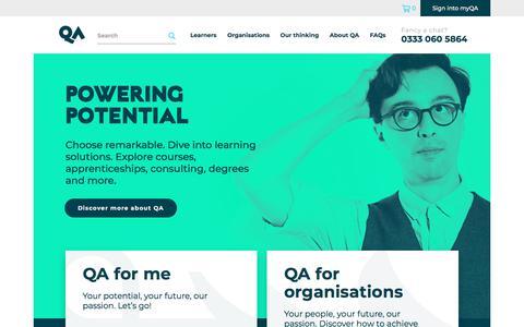 Screenshot of Home Page qa.com - QA.com | QA | Professional Training and Apprentices for Digital Transformation - captured July 13, 2019