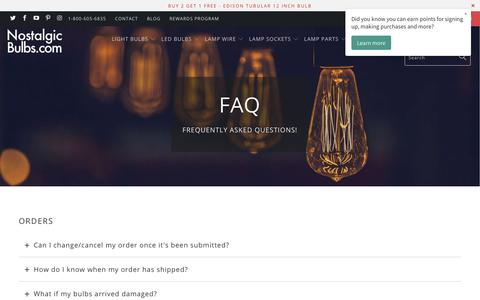 Screenshot of FAQ Page nostalgicbulbs.com - FAQ | Frequently Asked Questions? Customer Service - Nostalgicbulbs.com - captured Nov. 15, 2018