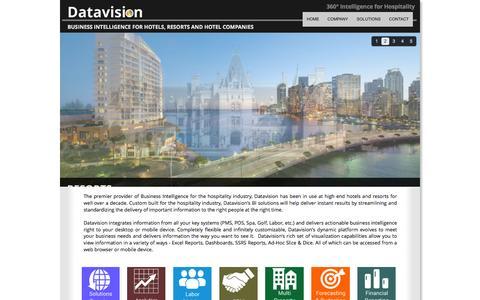Screenshot of Home Page datavisiontech.com - Datavision - BI for Hospitality - captured Oct. 1, 2014
