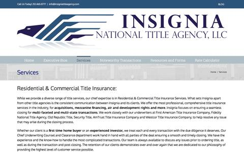 Screenshot of Services Page insigniatitleagency.com - Services – Insignia National Title Agency - captured Oct. 15, 2017