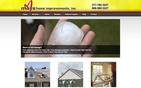 Screenshot of Home Page mossroofing.com - Indianapolis Roofing Contractors | Expert Residential Roofers - captured Jan. 26, 2015