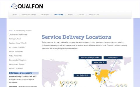 Screenshot of Locations Page qualfon.com - Service Delivery Locations - captured Jan. 28, 2016