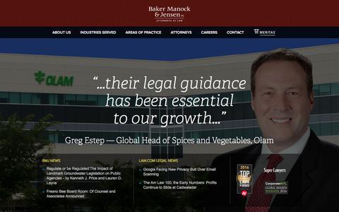 Screenshot of Home Page bakermanock.com - Baker, Manock & Jensen | Attorneys at Law - captured Feb. 7, 2016