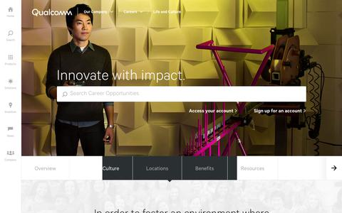 Screenshot of Jobs Page qualcomm.com - Careers Life and Culture | Qualcomm - captured April 9, 2018