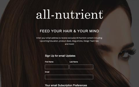 Screenshot of Signup Page allnutrient.com - Subscribe to All-Nutrient E-mails - captured Nov. 6, 2018