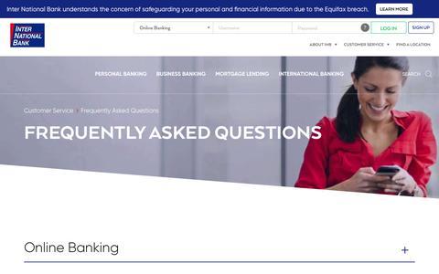 Screenshot of FAQ Page inbweb.com - A Community Bank Serving Texas | Inter National Bank - captured Oct. 15, 2017