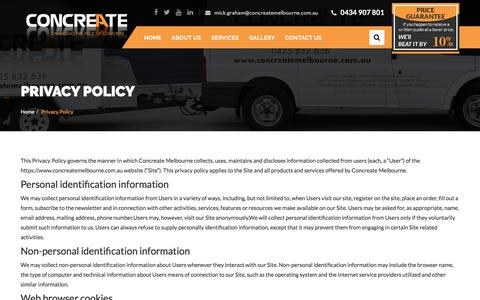Screenshot of Privacy Page concreatemelbourne.com.au - Privacy Policy - captured July 21, 2018