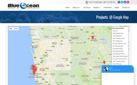 Screenshot of Maps & Directions Page blueocean.lk - Blue Ocean | Real-estate | Construction | Engineering | Apartments in Sri Lanka - captured May 1, 2017