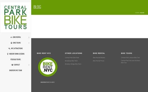 Screenshot of Blog centralparkbiketours.com - BLOG - Central Park Bike Tours - captured July 19, 2015