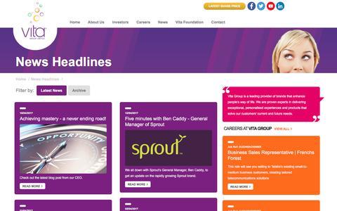 Screenshot of Press Page vitagroup.com.au - News Headlines - Vita Group Limited - captured June 6, 2017