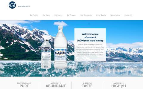 Screenshot of Home Page alaskaglacier.com - Home | Alaska Glacier Products | Premium Drinking Water - captured July 28, 2017