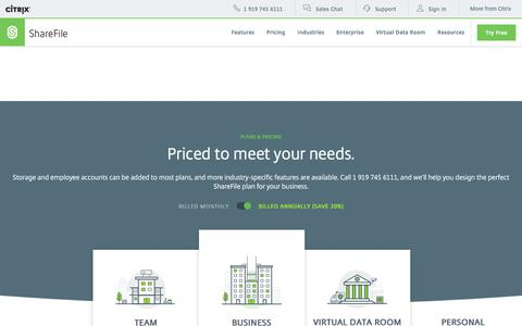 Screenshot of Pricing Page sharefile.com - ShareFile Pricing - View Affordable Business File Sharing Plans - captured June 20, 2017