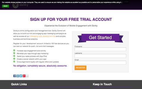 Screenshot of Trial Page mobiledonky.com - Sign up free for a Donky account today - captured Nov. 2, 2014
