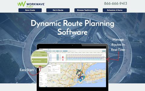 Screenshot of Landing Page workwave.com - Route Planning Software - captured Feb. 11, 2016