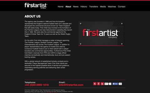 Screenshot of About Page firstartist.com - About | First Artist Sport - Leading Management Agency - captured Oct. 26, 2014