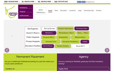 Screenshot of Home Page kemprecruitment.com.au - Kemp Nursing Recruitment Agency - captured Sept. 20, 2018