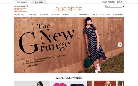 Screenshot of Home Page shopbop.com - Shopbop.com Designer Women's Fashion Brands - captured Sept. 19, 2014