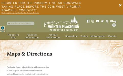 Screenshot of Maps & Directions Page pocahontascountywv.com - Pocahontas County - Maps & Directions - captured Sept. 28, 2018