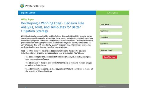 Screenshot of Landing Page datacert.com - White Paper: Decision Tree Analysis, Tools, and Templates for Better Litigation Strategy - captured Dec. 25, 2016