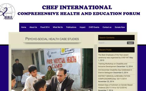 Screenshot of Case Studies Page chef.org.pk - Psycho-Social Health Case Studies | COMPREHENSIVE HEALTH AND EDUCATION FORUM INTERNATIONAL - captured Jan. 21, 2016