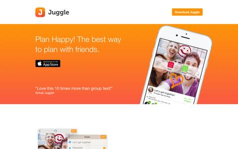 Screenshot of Home Page getjuggle.com - Juggle � Plan Happy - captured Nov. 11, 2015