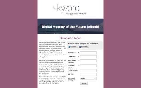 Screenshot of Landing Page skyword.com - Skyword: Digital Agency of the Future - captured April 21, 2016