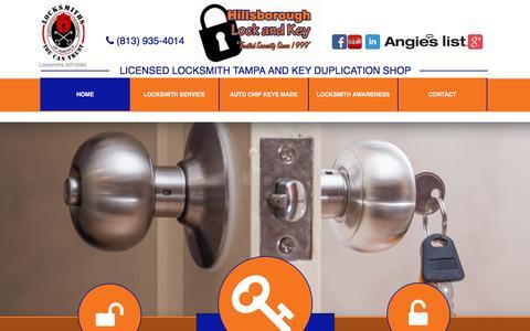 Screenshot of Home Page hillsboroughlockandkey.com - Locksmith in Tampa - Hillsborough Lock & Key - captured May 19, 2017